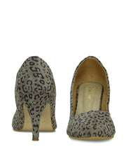 Women Brown Animal Print  Designer Pumps