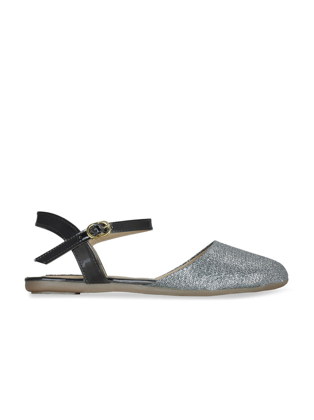 Women Grey Glitter Ethnic Flats
