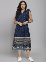 Women Blue Printed A-Line Dress With Mask