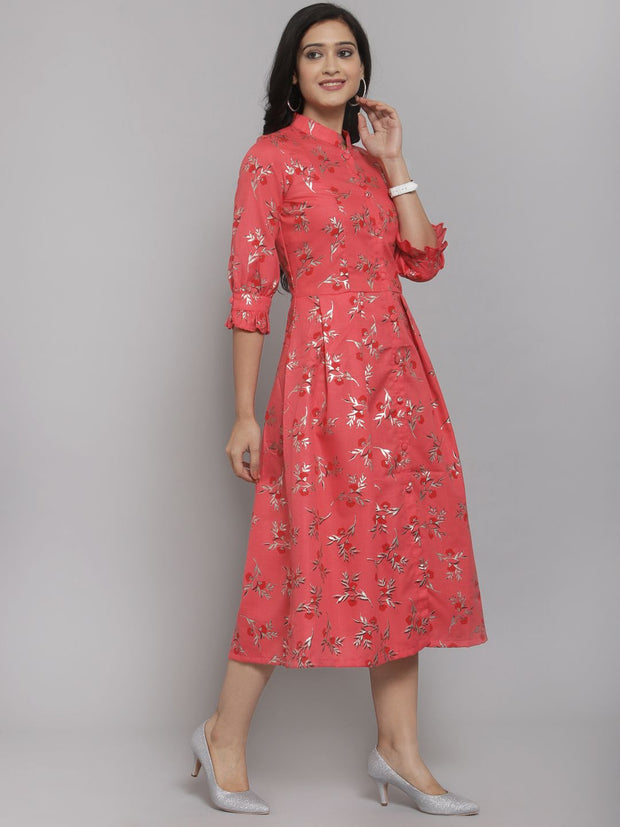 Women Pink Foil Printed A-Line Dress with Mask