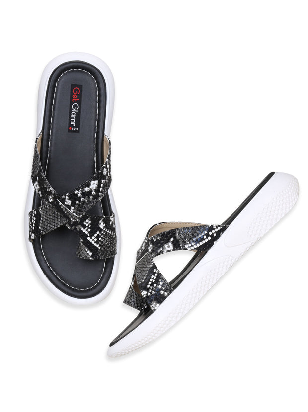 Women Black Casual Animal Print Flatforms Slip ons