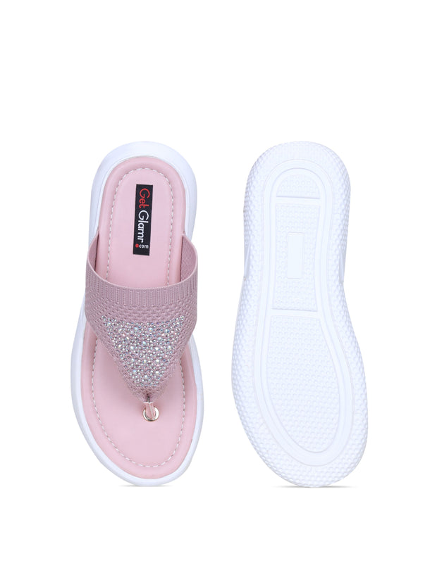 Women Pink Emblished Slip Ons
