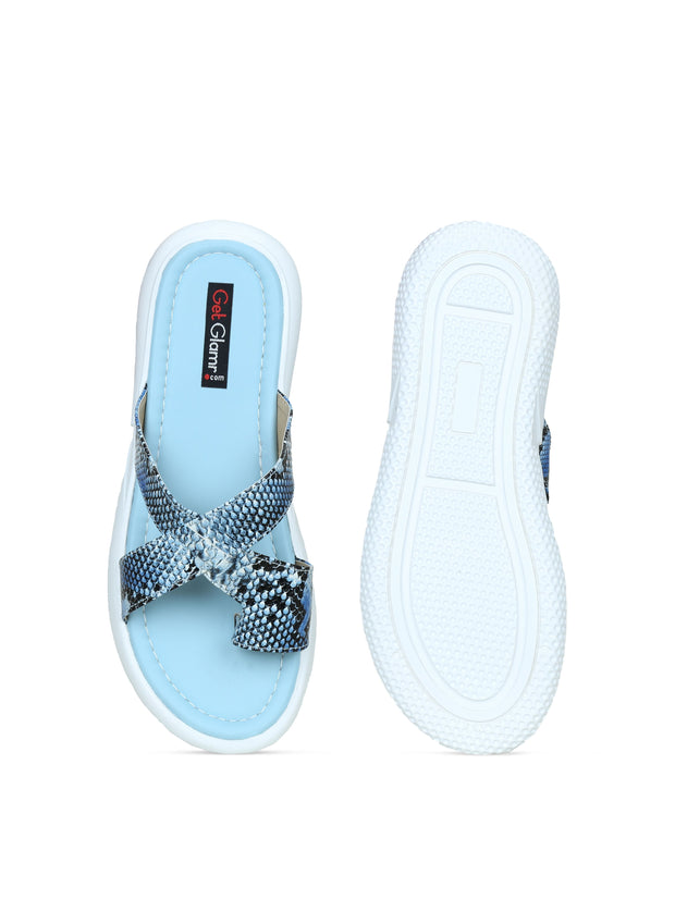Women Turquoise Blue Casual Animal Print Flatform Slip ons