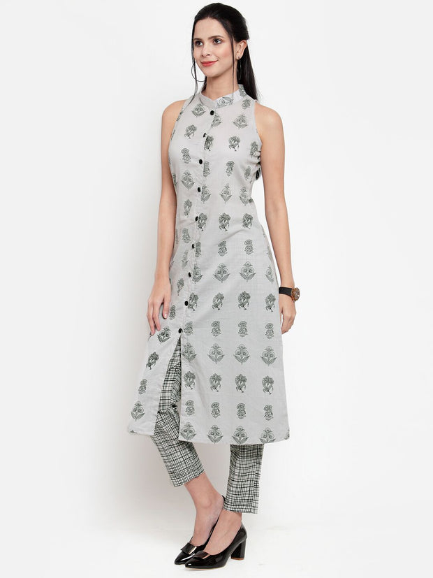 Women Grey Printed Kurta and Pallazzos