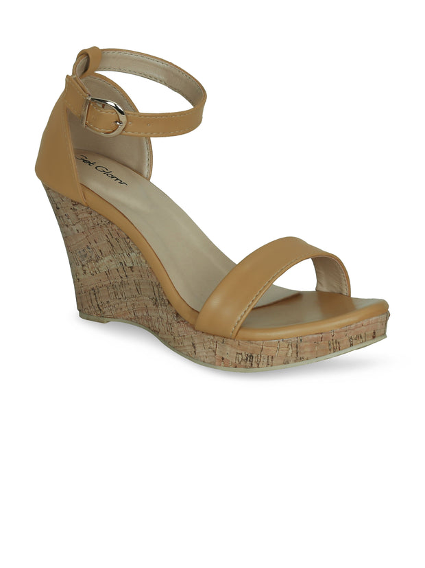 Women Classic Beige  Wedge Sandals