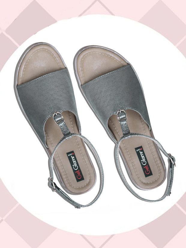 Women Casual Grey Comfortable Flat Sandals