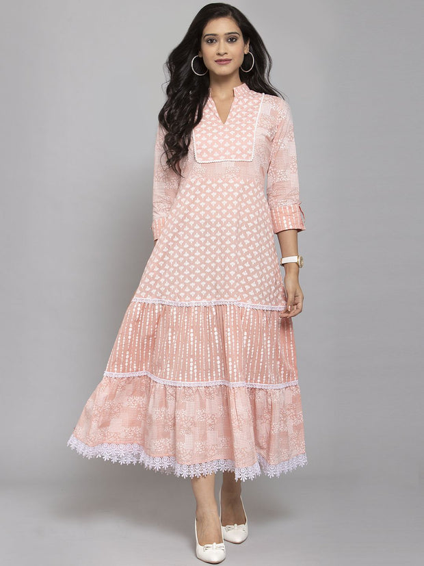 Women Peach Printed Anarkali Kurta With Mask