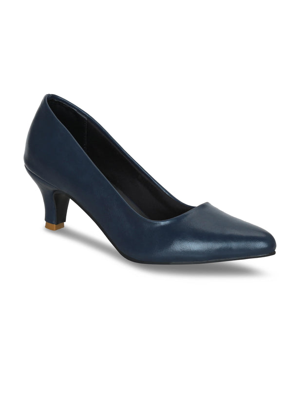 Women Navy Blue Classic Solid Pumps