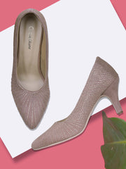 GET GLAMR Hand Made Emblished Ethnic Peach Designer Pumps