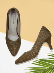 GET GLAMR Hand Made Emblished Ethnic Brown Designer Pumps