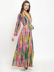 Get Glamr Women's Cotton Bandhani  A-Line Flared Kurta