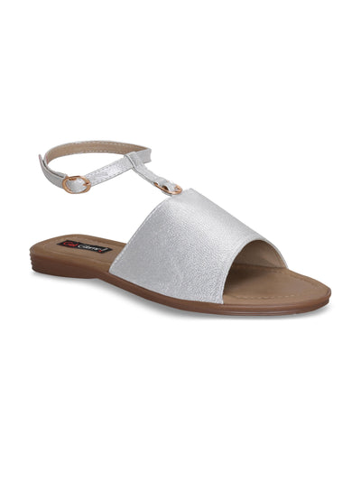 Women Casual Silver Comfortable Flat Sandals