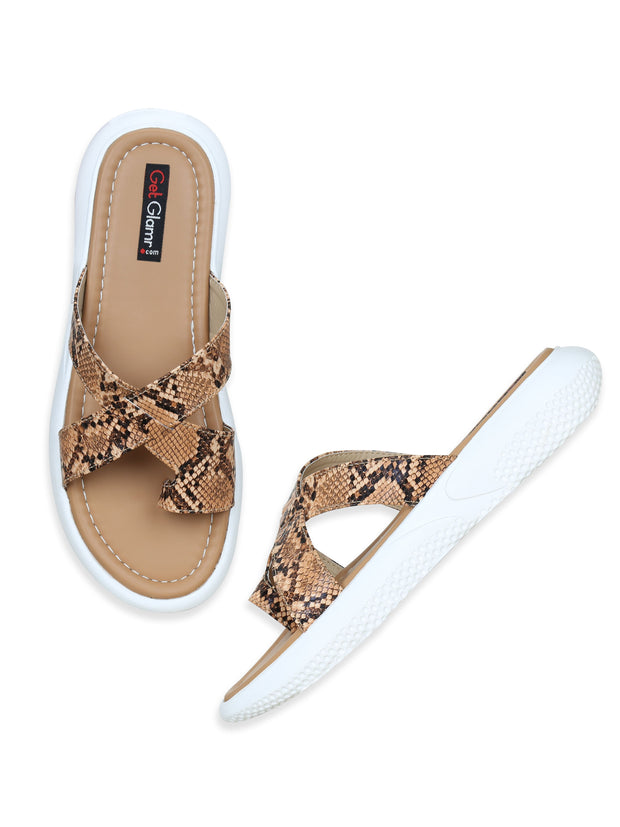Women Tan Casual Animal Print Flatforms Slip ons
