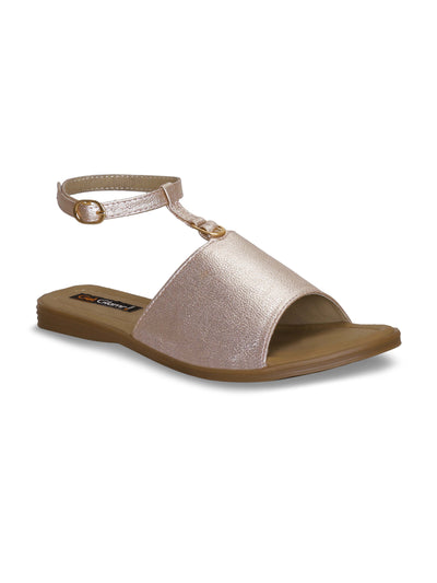 Women Casual Rose Gold Comfortable Flat Sandals