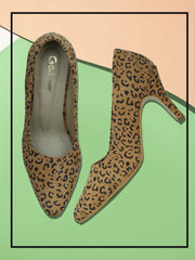 Women Tan Animal Print  Designer Pumps
