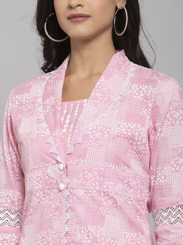 Women Pink Printed Kurta & Trousers Set with Inner and Matching Mask