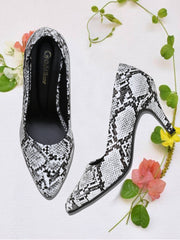 Women White Animal Print Designer Pumps