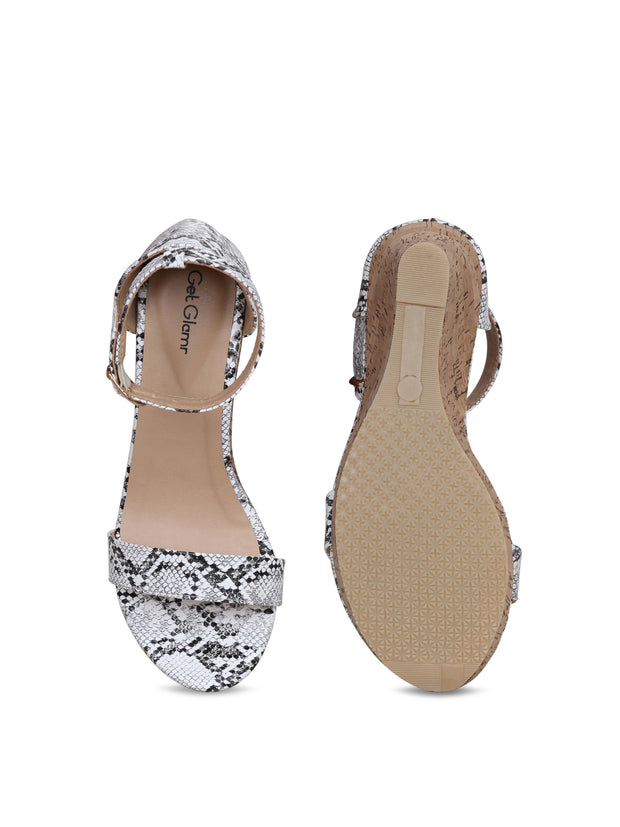 Women Classic White Animal Print Wedge Sandals