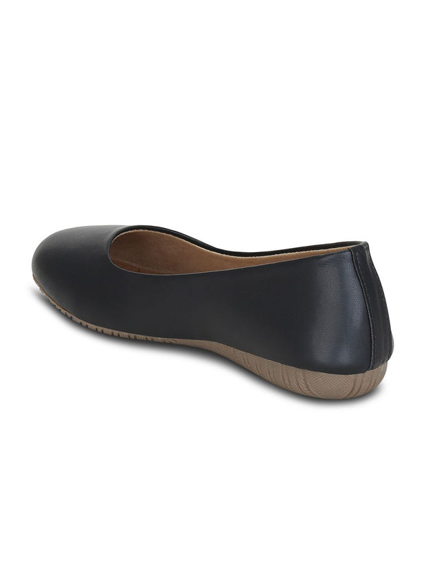 Women Black Solid Ballerinas