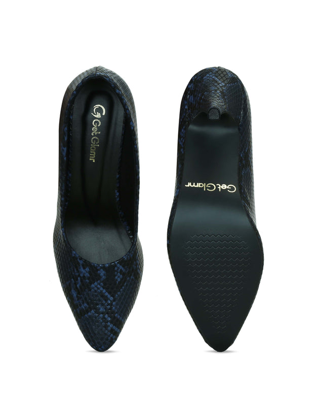 Women Navy Blue Animal Print Designer Pumps