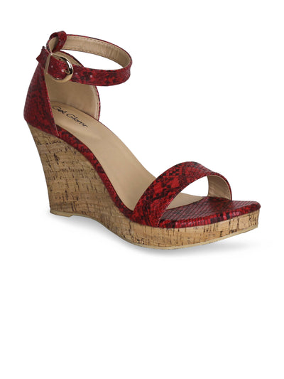 Women Classic Red Animal Print Wedge Sandals