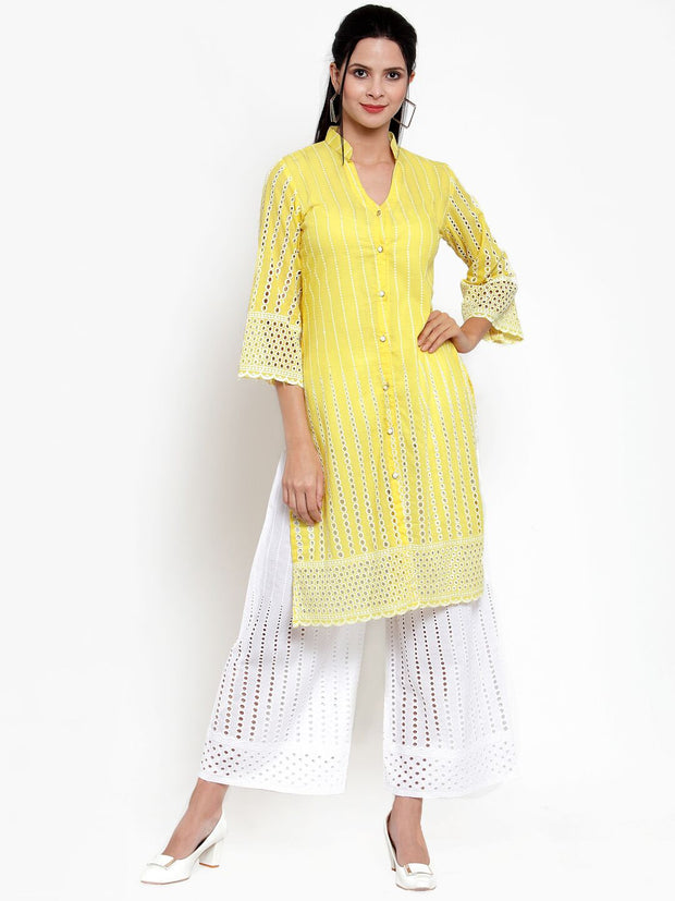 Women Yellow Solid Kurta and Pallazzos