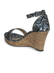 Women Classic Black Animal Print Wedge Sandals