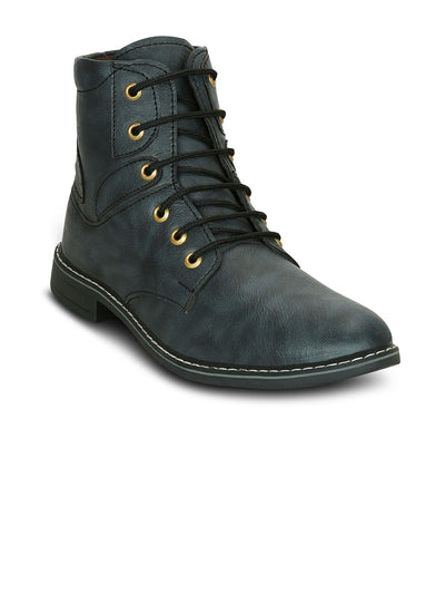Mens Faux Leather Solid Boots