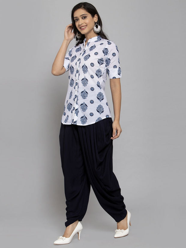Women White & Navy Blue Block Printed Kurti with Patiala Salwar and Mask