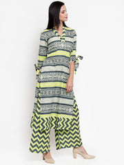 Women Grey & Green Printed Kurta and Pallazzos