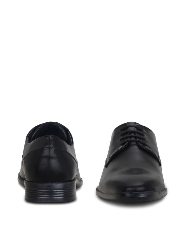Men's Black Genuine Leather Plain Derbys
