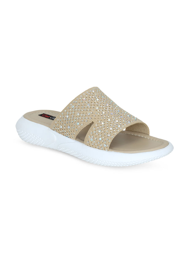 Women Beige Emblished Slip Ons