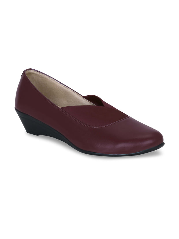 GET GLAMR Hand Made Designer Maroon Wedges Pumps