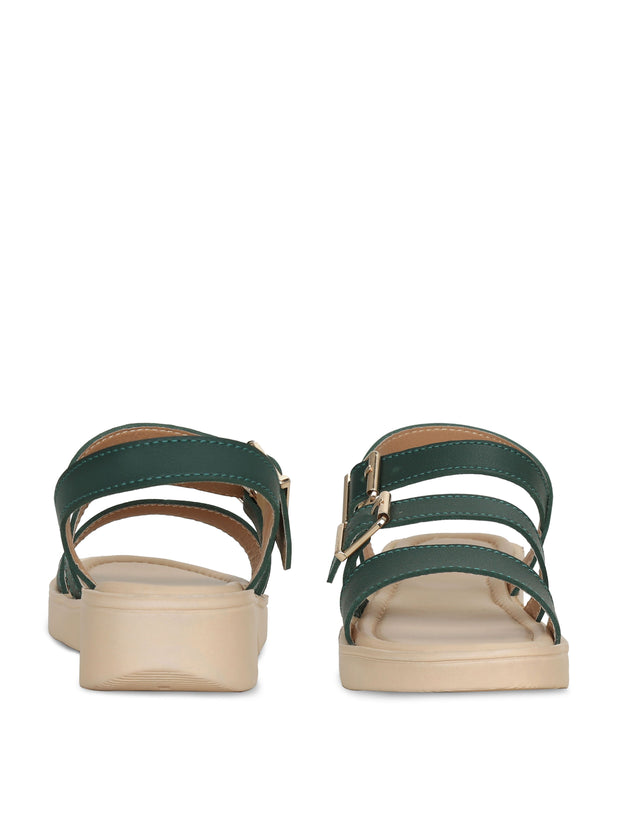 Women Green Casual Designer  Solid Flat Sandals