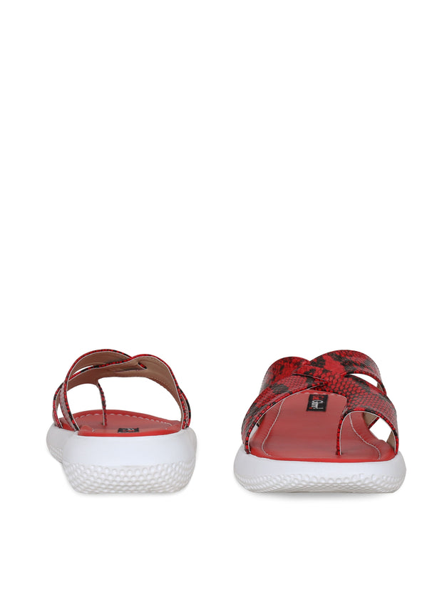 Women Red Casual Animal Print Flatforms Slip ons