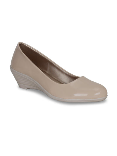 Women Beige Solid Wedge Pumps
