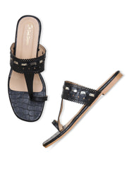 Women Black Designer Perforated kolhapuirs
