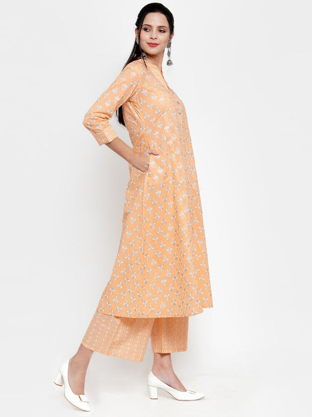 Women Orange Printed Kurta and Pallazzos