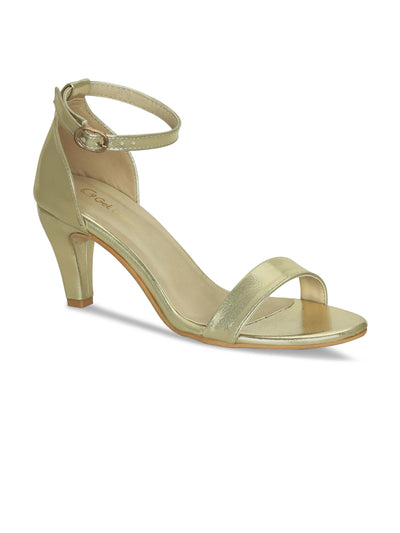 Women Designer Gold Stilettoes Sandals