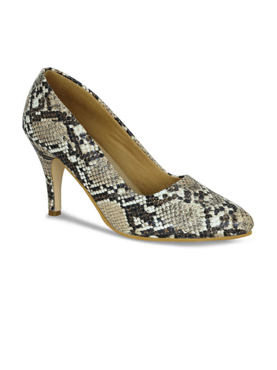 Women Beige Animal Print  Designer Pumps