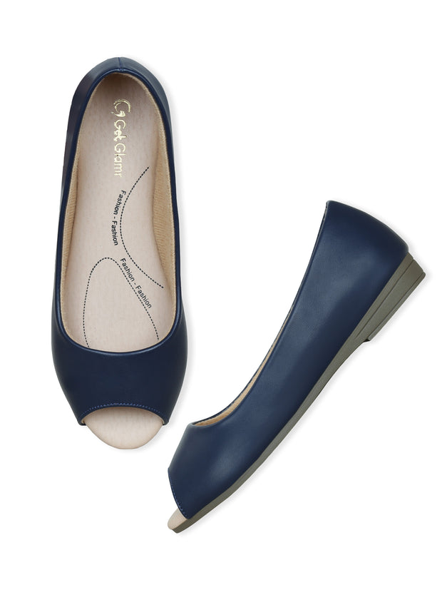 Women Navy Blue Classic & Comfortable Flat Peep Toes