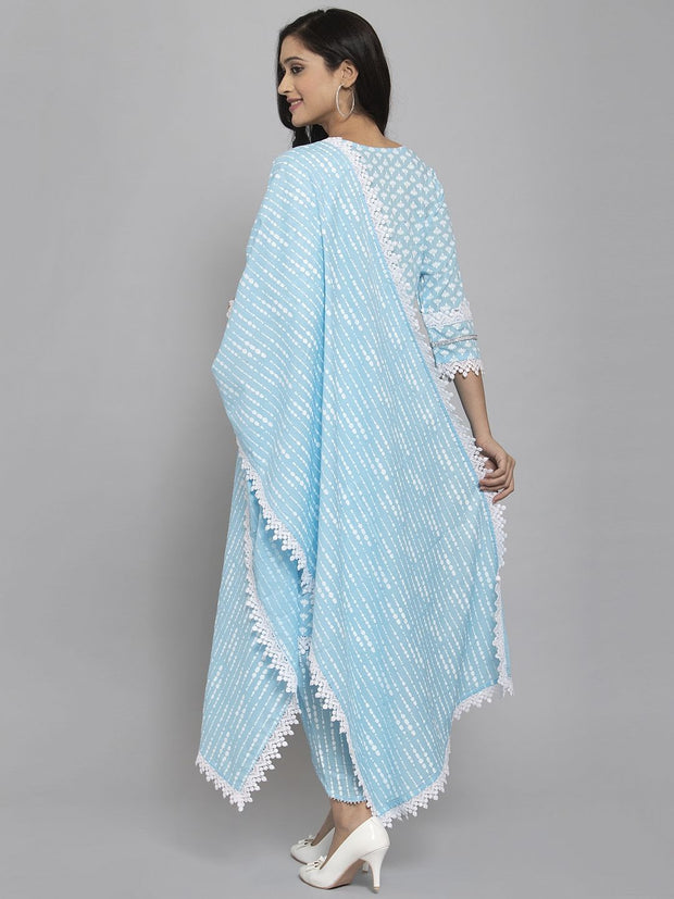 Women Blue Printed Kurta & Trousers Set with Duppatta and Mask
