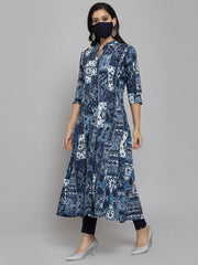 Women Navy Blue & White Batik Printed Indigo Anarkali Kurta With Mask