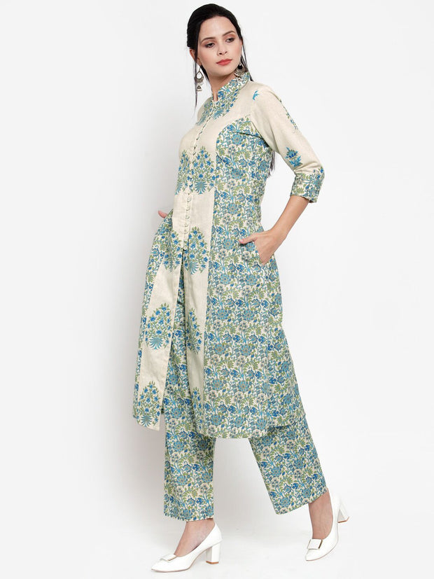 Women Beige & Green Printed Kurta and Pallazzos
