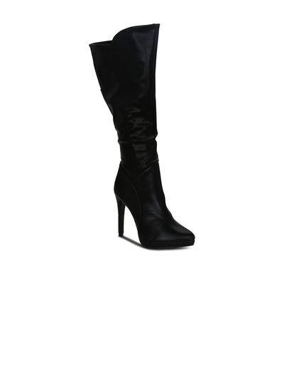 Heeled Boots Pointed Toe Synthetic  4.5 inches