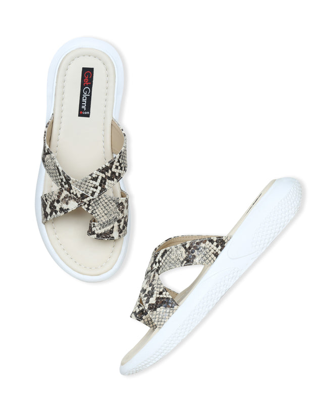Women Beige Casual Animal Print Flatforms Slip ons