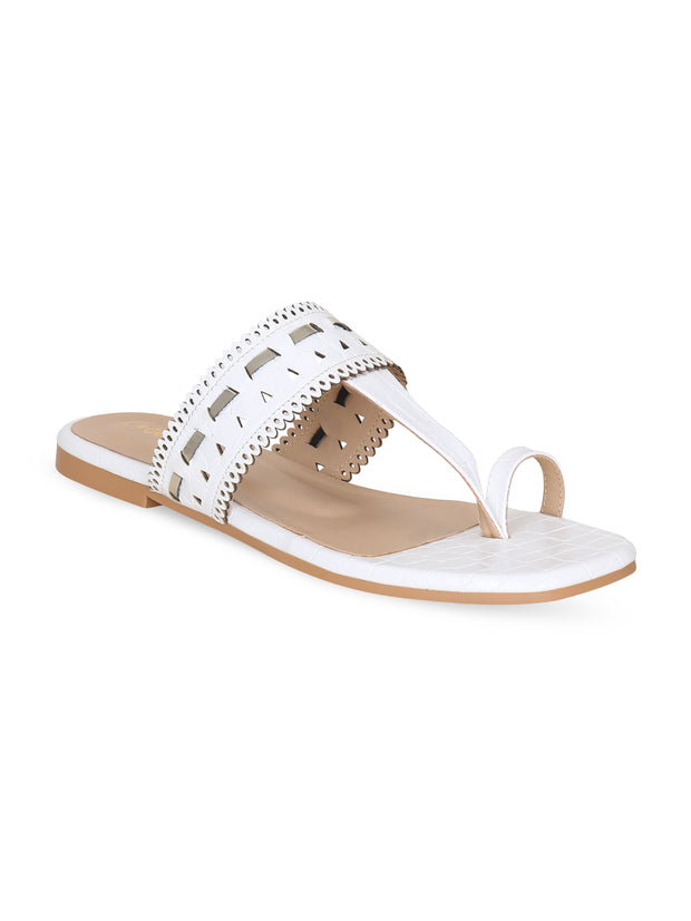 Women White Designer Perforated kolhapuirs