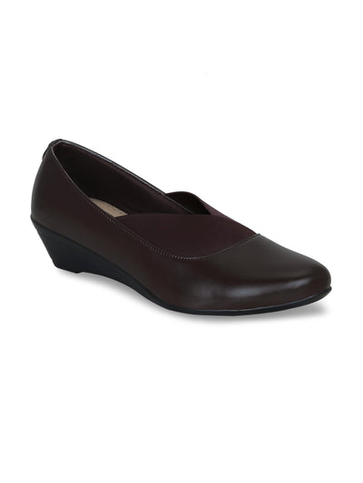 GET GLAMR Hand Made Designer Brown Wedges Pumps
