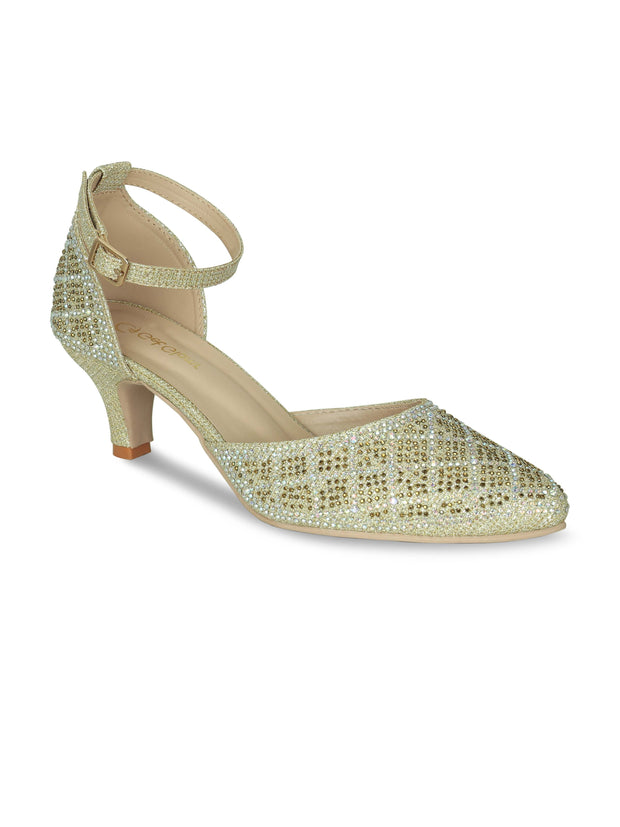 Women Designer Emblished Ethnic Gold Pumps