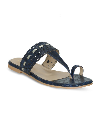 Women Navy Blue Designer Perforated kolhapuirs